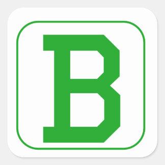 Green Block Letter B Square Stickers