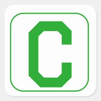 Green Block Letter C Square Stickers