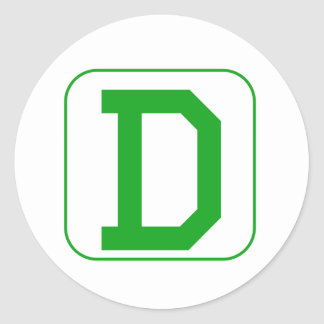 Green Block Letter D Round Stickers