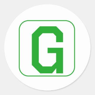 Green Block Letter G Round Stickers