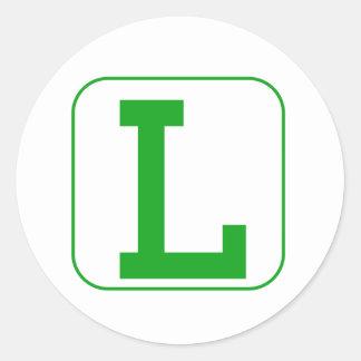 Green Block Letter L Round Sticker