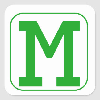 Green Block Letter M Square Stickers