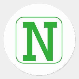 Green Block Letter N Round Sticker