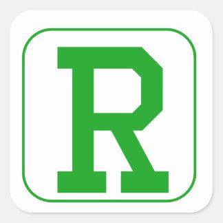 Green Block Letter S Square Stickers