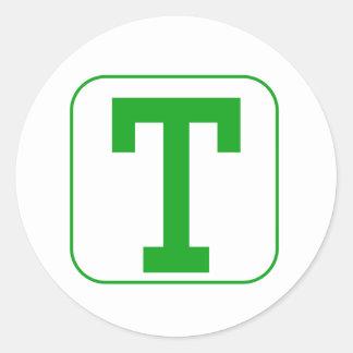 Green Block Letter U Round Sticker