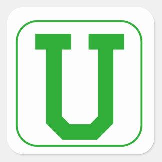 Green Block Letter V Square Stickers