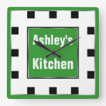 Green Block Square Personalized Wall Clock