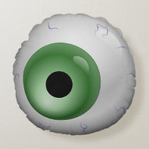Green Bloodshot Eye Zombie Halloween Round Round Pillow