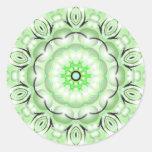 Green Blossom Round Sticker