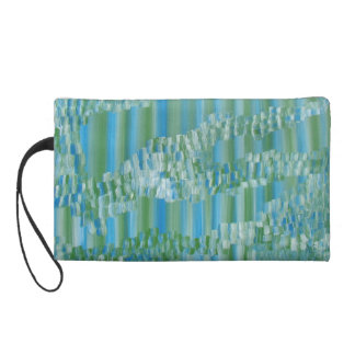Green/Blue Abstract Wristlet Clutch