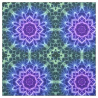 Green Blue Abstract Kaleidoscope Mandala Pattern Fabric