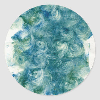 Green Blue Abstract Monoprint Classic Round Sticker