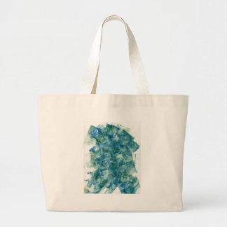 Green Blue Abstract Monoprint Large Tote Bag