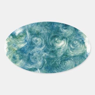 Green Blue Abstract Monoprint Oval Sticker