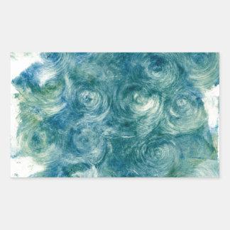 Green Blue Abstract Monoprint Rectangular Sticker