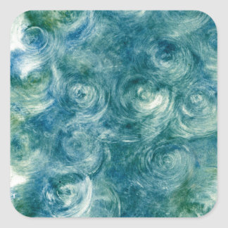 Green Blue Abstract Monoprint Square Sticker