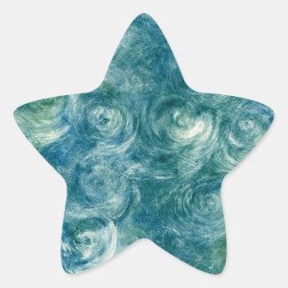 Green Blue Abstract Monoprint Star Sticker
