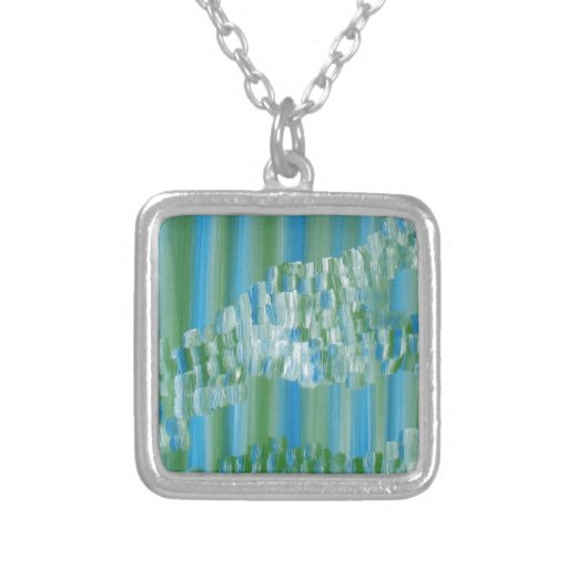 Green/Blue Abstract Personalized Necklace