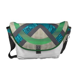 Green&Blue Abstract Snakeskin Tortoise Shell Messenger Bags