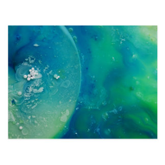 Green & blue acrylic inks & oil abstract art postcard
