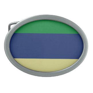 Green, Blue and Lemon Stripes Belt Buckle