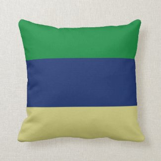 Green, Blue and Lemon Stripes Throw Pillow