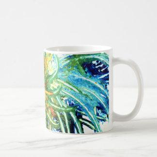 Green, blue and orange spiral abstract art mug