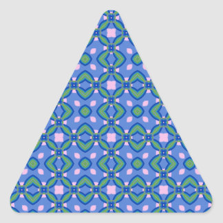 Green, Blue and Pink Pattern Triangle Sticker