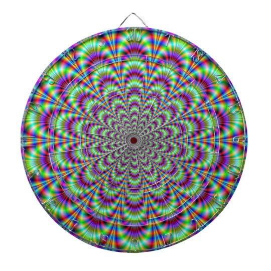 Green Blue and Red Flower Dartboard