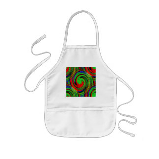 Green blue and red swirl continuous pattern kids' apron