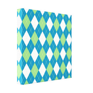 Green Blue and White Argyle Pattern Canvas Print
