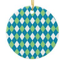 Green Blue and White Argyle Pattern Ceramic Ornament
