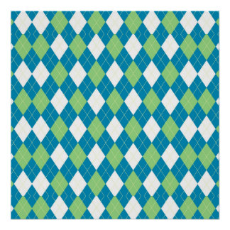Green Blue and White Argyle Pattern Poster