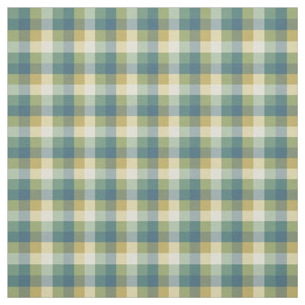 Green, Blue and Yellow Checkered Plaid Fabric | Zazzle