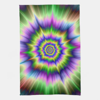 Green Blue and Yellow Explosion Kitchen Towel