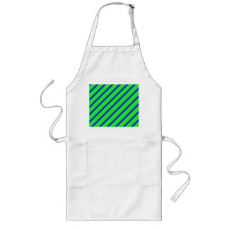 Green Blue Angled Stripes Abstract Long Apron