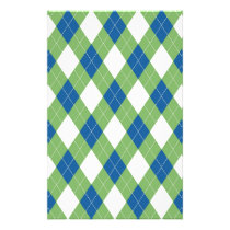 Green blue argyle pattern stationery