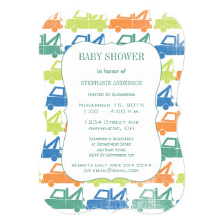 Green Blue Baby Boy Tow Truck Pattern Baby Shower Card
