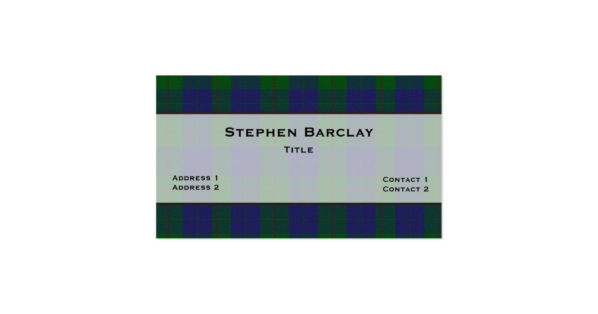Green blue barclay tartan plaid custom business card for Barclay business card