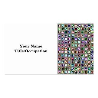 Green-Blue Bijoux Textured Mosaic Tiles Pattern Business Card Template