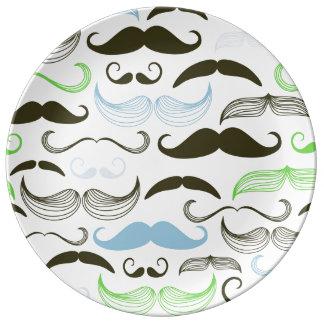 Green, Blue & Black Mustache Design Dinner Plate