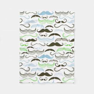 Green, Blue & Black Mustache Design Fleece Blanket