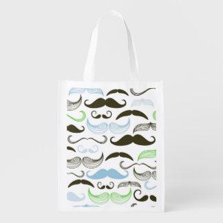 Green, Blue & Black Mustache Design Grocery Bag
