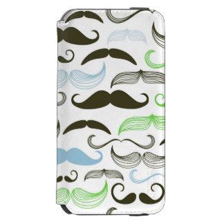 Green, Blue & Black Mustache Design iPhone 6/6s Wallet Case