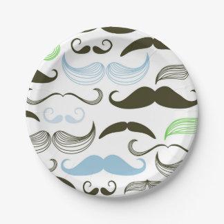 Green, Blue & Black Mustache Design Paper Plate