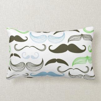 Green, Blue & Black Mustache Design Pillows