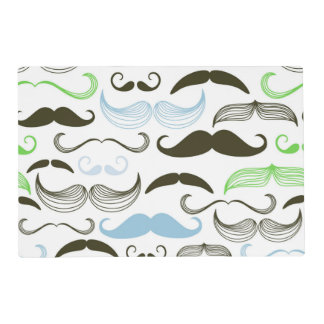 Green, Blue & Black Mustache Design Placemat