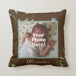 Green, Blue, Brown Snail Photo Baby Boy Throw Pillow