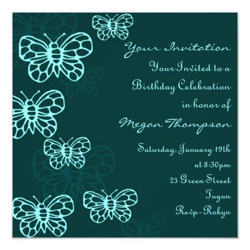 Green & Blue Butterfly Birthday Invitation
