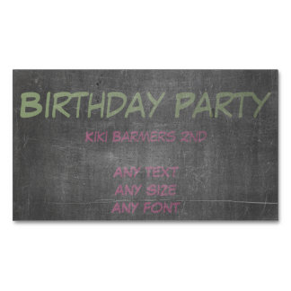 Green & Blue Chalk - 3rd Birthday Party Invite Business Card Magnet